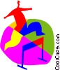 Vector Clipart graphic  of a running the hurdles
