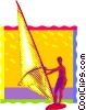 sail boarding, wind surfing Vector Clipart picture