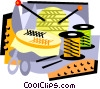 Vector Clip Art image  of a knitting supplies