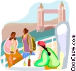 sitting beside the River Thames Vector Clip Art image
