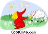 Vector Clip Art picture  of a girl with sheep and flowers