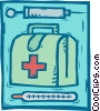 Vector Clip Art image  of a doctor's kit, hypodermic needle