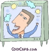 Vector Clip Art graphic  of a weather man reporting a sunny day