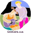 chalk style, learning to play the guitar Vector Clip Art graphic