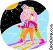 chalk style, learning to ski Vector Clipart image