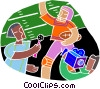 Chalk style, football interview Vector Clip Art graphic