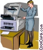 Office worker at the photocopier Vector Clipart illustration