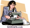 woman with a sewing machine Vector Clip Art image