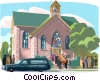 funeral procession, church Vector Clip Art graphic