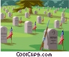 Servicemen's grave, National cemetery Vector Clipart illustration