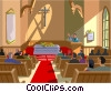 funeral service, church service Vector Clipart illustration