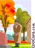 Vector Clip Art graphic  of a visiting a grave, paying respects