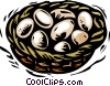 farm scene,  eggs in a nest Vector Clipart graphic