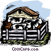 farm scene Vector Clipart illustration