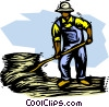 Vector Clipart illustration  of a Farmer with pitch fork and hay