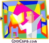 student reading Vector Clipart picture