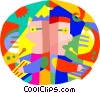 Vector Clip Art graphic  of a children working with