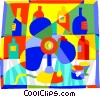 Vector Clip Art picture  of a fan with perfume bottles