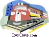 Vector Clip Art graphic  of a Train in the yard