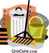 Vector Clipart graphic  of a garbage can with broom