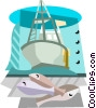 Commercial fishing boat with fish Vector Clipart graphic