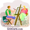 artist painting a portrait Vector Clipart illustration