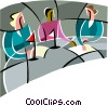 Vector Clipart graphic  of a discussion among three people