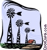 Vector Clip Art graphic  of a windmills