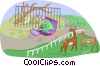 day at the zoo Vector Clip Art graphic