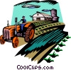 Vector Clip Art picture  of a farmer with a tractor