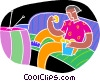 chalk style, watching television Vector Clipart illustration