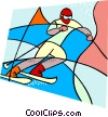 Olympic sports, downhill skiing Vector Clipart graphic