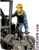 Vector Clip Art picture  of a oil drilling worker