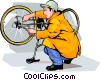 Vector Clip Art picture  of a Boy adjusting his bicycle