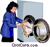 Vector Clip Art picture  of a woman at a clothes dryer