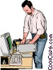Vector Clip Art graphic  of a Computer technician