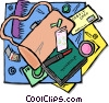 Vector Clipart illustration  of a items in a purse