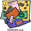items in a wallet Vector Clip Art picture