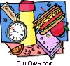 Vector Clipart image  of a school lunch