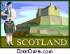 Scotland postcard design Vector Clipart illustration