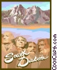 Vector Clip Art image  of a South Dakota postcard design