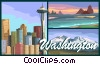 Vector Clipart graphic  of a Washington postcard design