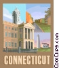 Connecticut postcard design Vector Clipart picture