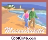 Massachusetts postcard design Vector Clip Art picture