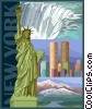 Vector Clip Art graphic  of a New York postcard design