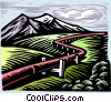 gas pipeline, woodcut style Vector Clipart graphic