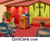 funeral service, church service, eulogy Vector Clipart image