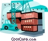 forklift loading cargo Vector Clipart picture