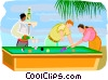 Vector Clipart image  of a People playing pool while on