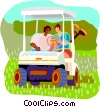 Vector Clipart graphic  of a Golfers waiting in golf cart